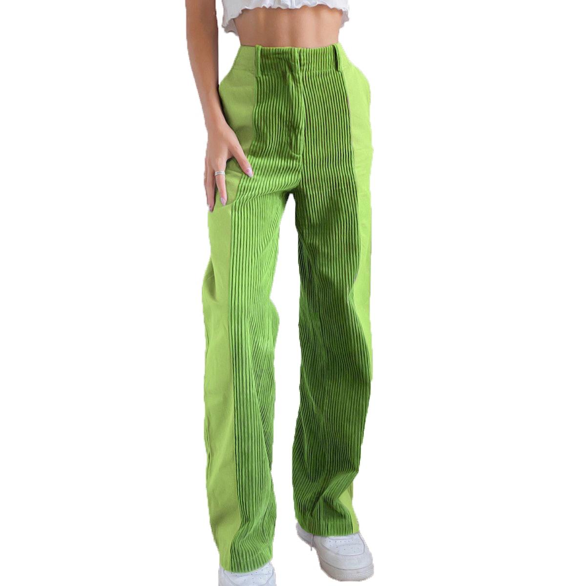 Listenwind Women's Corduroy Patchwork Pants High-Waist Gradient Trousers Straight Wide Leg Zipper Po...