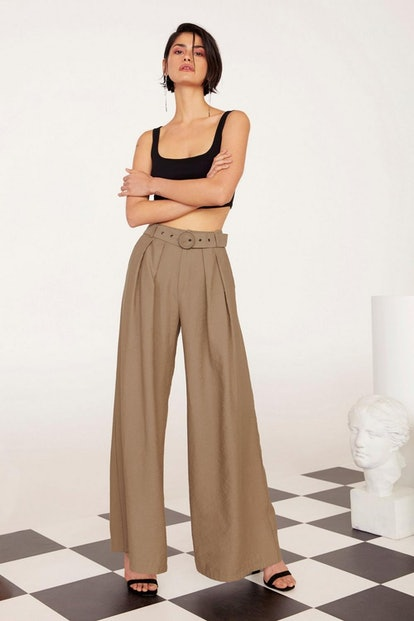 Nasty Gal Business As Usual Wide-Leg Belted Pants
