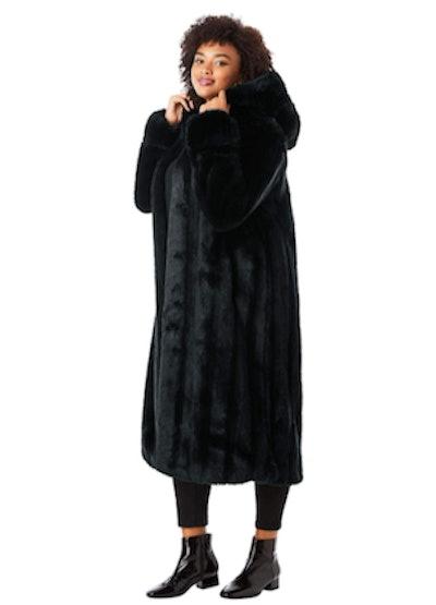 Roaman's Full-Length Faux Fur Coat With Hood
