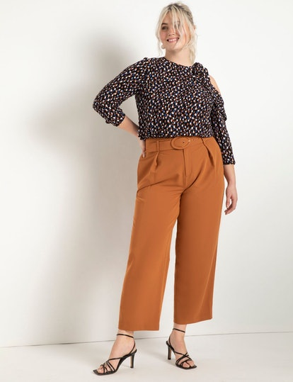 ELOQUII Pleat Front Trouser With Belt