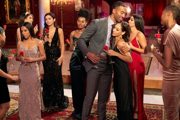 Matt James with contestants on 'The Bachelor'