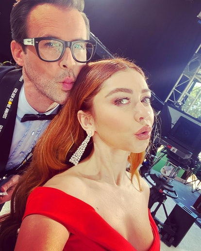 Sarah Hyland takes a selfie while attending the 2021 Golden Globe Awards.