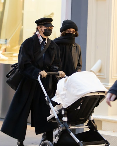 Gigi Hadid goes for a walk with her daughter and Bella Hadid on December 15, 2020 in New York City, New York.