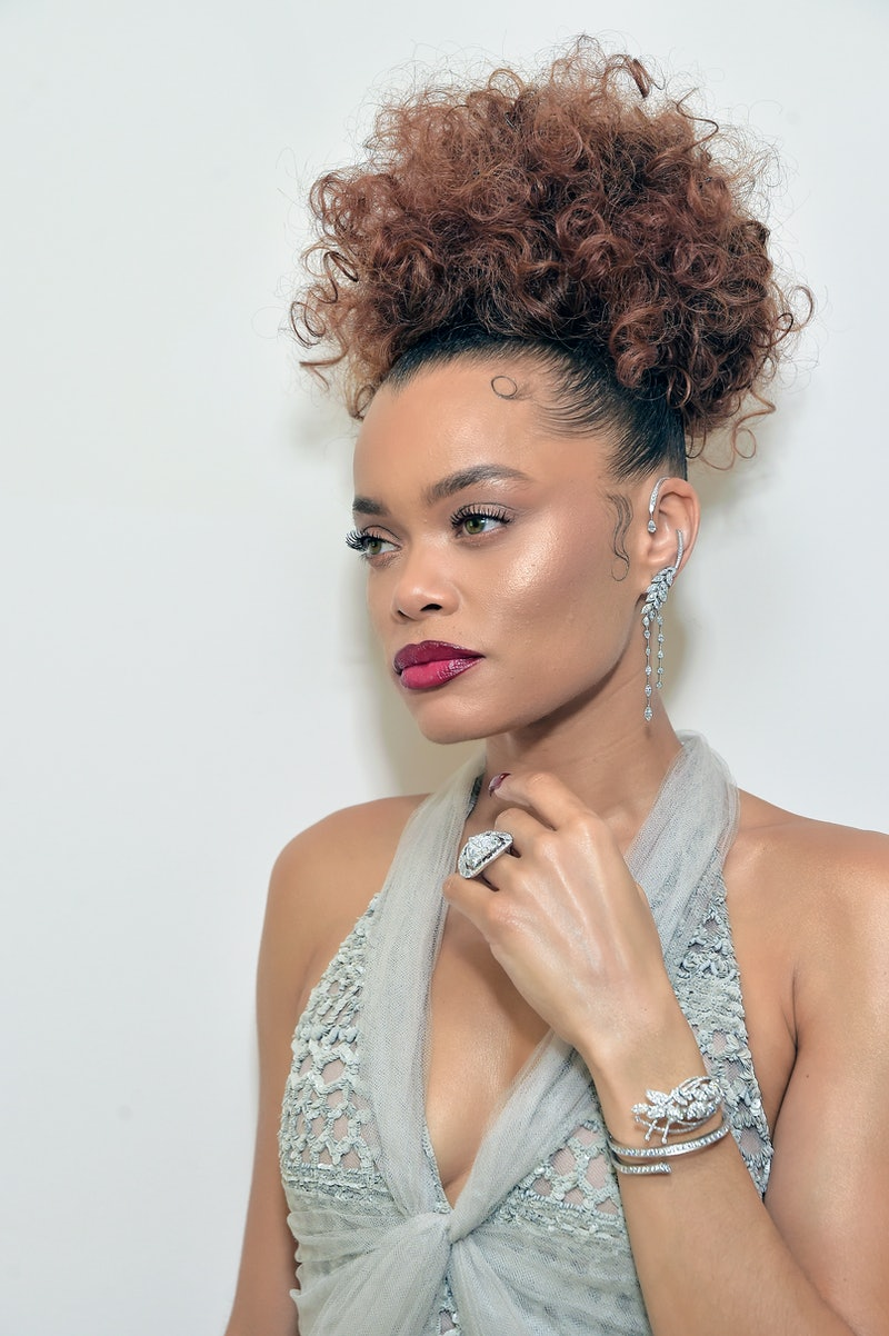 Andra Day, wearing CHANEL & CHANEL Fine Jewelry, gets ready for the Golden Globe Awards 2021 at The West Hollywood EDITION on February 28, 2021 in West Hollywood, California.
