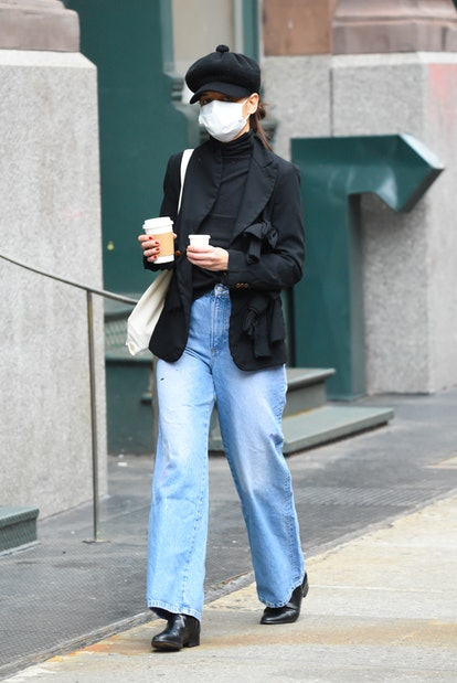 Katie Holmes is seen walking in SoHo on January 4, 2021 in New York City.