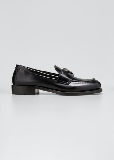 Leather Logo Penny Loafers