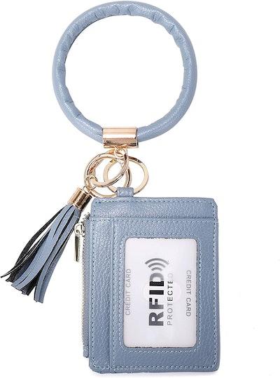 Wraifa RFID-Blocking Keychain Card Holder with Bracelet Bangle