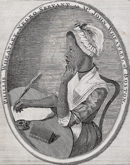 A print of Phillis Wheatley, an 18th century poet who grew up enslaved.