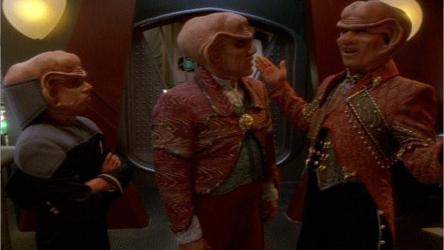 Nog and  Quark talking with Ferengi Commerce Authority Liquidator Brunt