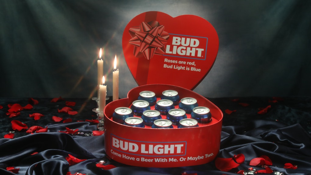 Bud Light's heart-shaped Valentine's Day 2021 beer box is a booze-inspired gift.