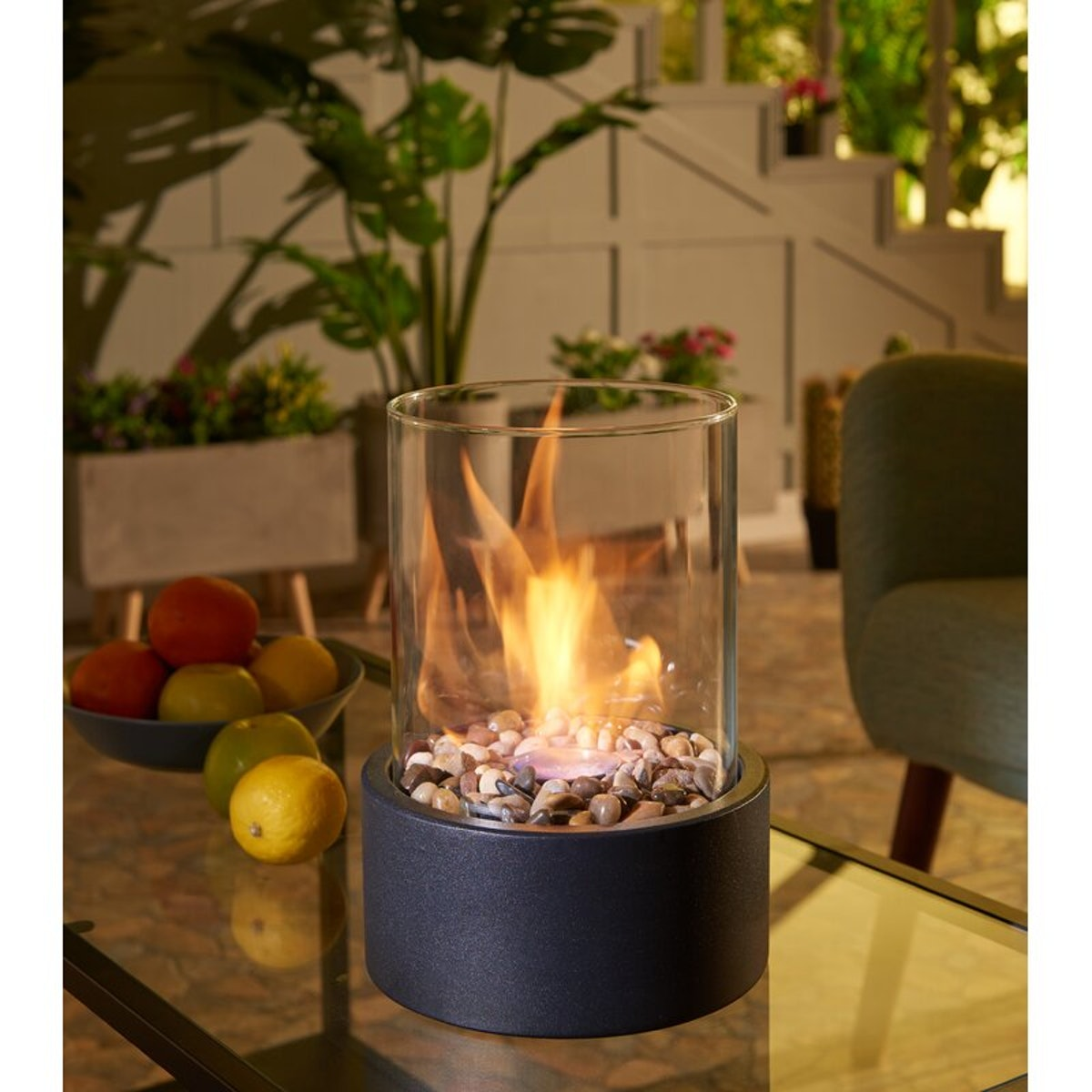 Danya B Sophie Metal Bio-Ethanol Outdoor Tabletop Fireplace with Flame Guard