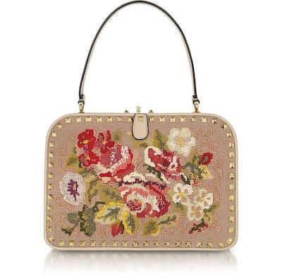 Valentino Rockstud Embroidered Frame Handbag
