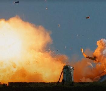 SN9 burst into flames hop test