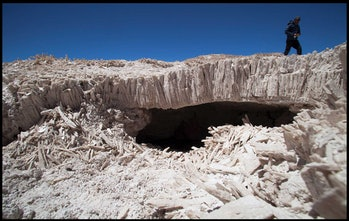 Void space beneath gypsum beds at Salar de Pajonales, northern Chile