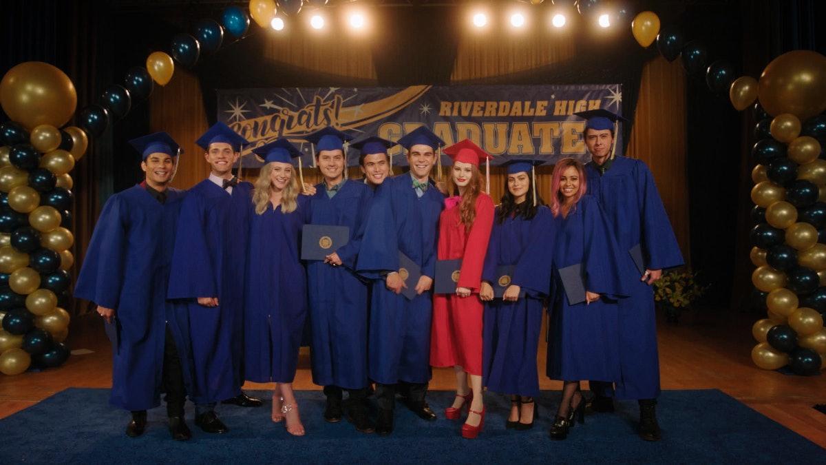 The 'Riverdale' senior class smile on graduation day for the Season 5 episode 'Graduation'