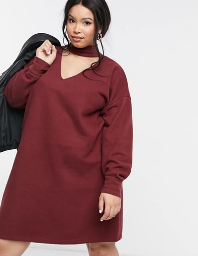 ASOS Curve Mini Dress In Soft Blood