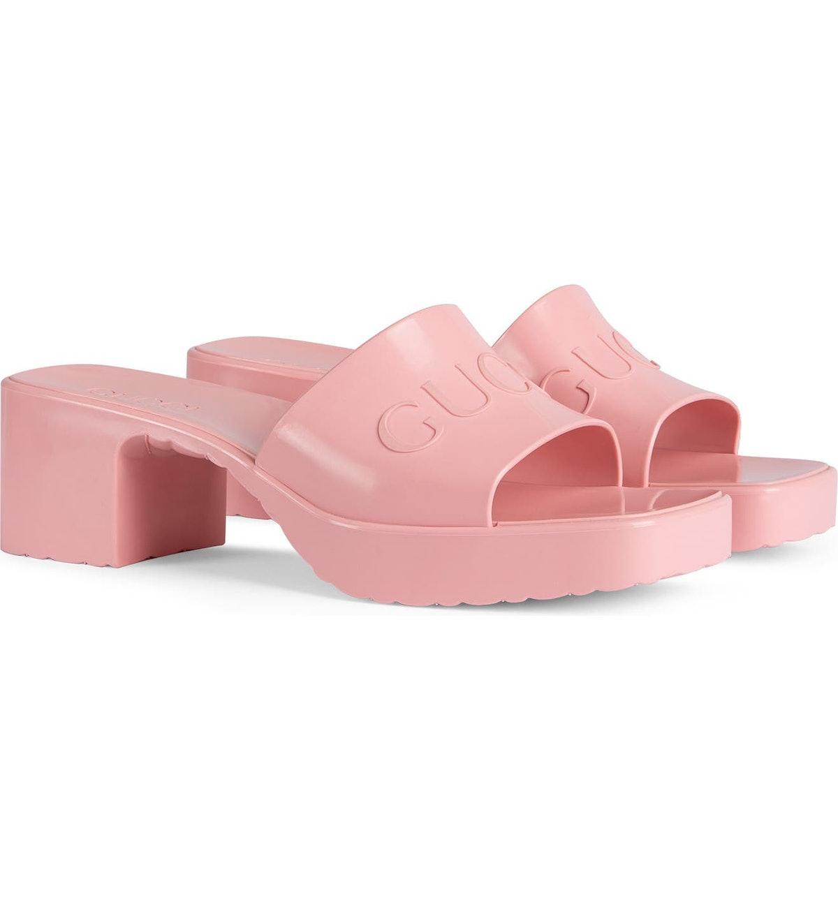 Rubber Logo Platform Slide Sandals