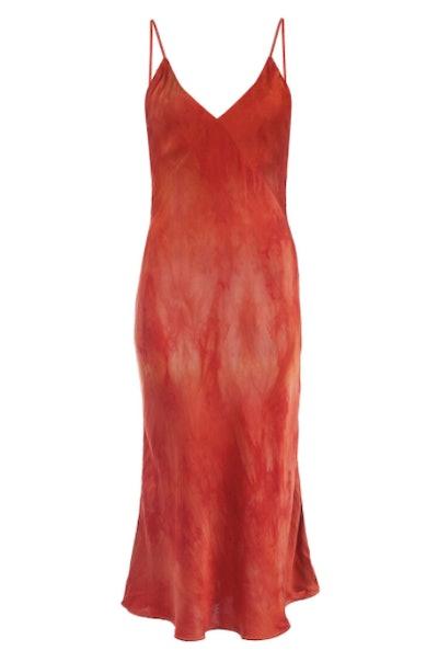 Midi Slip Dress In Fire