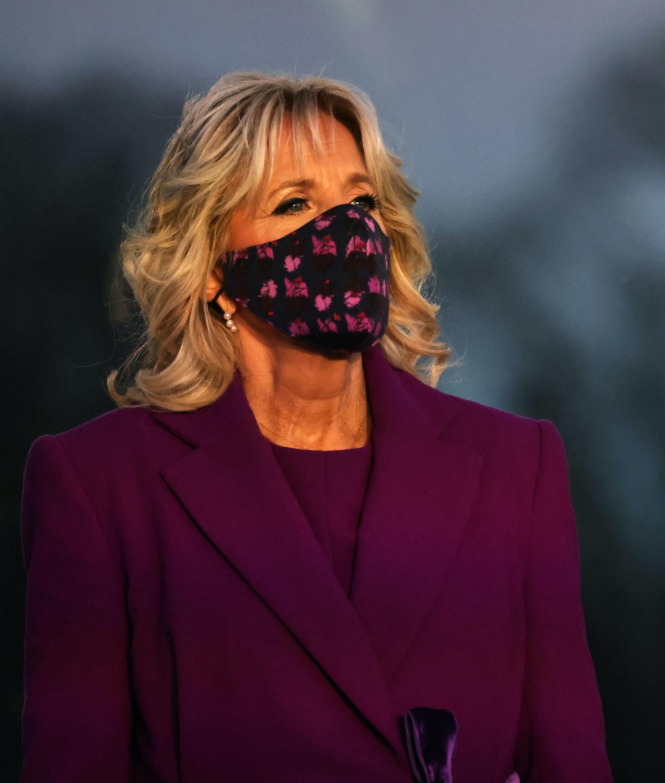 Dr. Jill Biden at a memorial for victims of the coronavirus (COVID-19) pandemic at the Lincoln Memor...