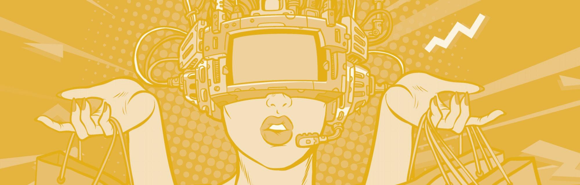 woman shopping on sale. virtual reality VR glasses. Pop art retro vector illustration vintage kitsch