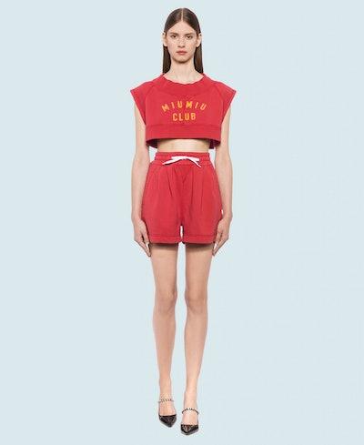 Garment-Dyed Cotton Fleece Top