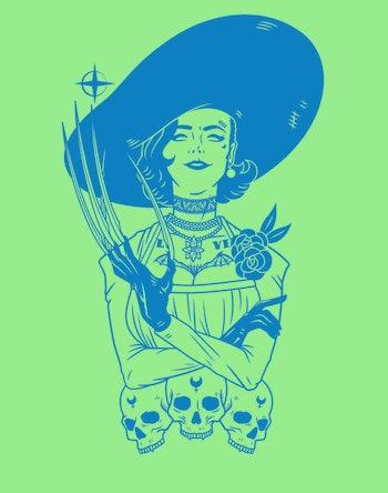 Fan art depicting a popular villain from Resident Evil Village, Lady Dimitrescu.