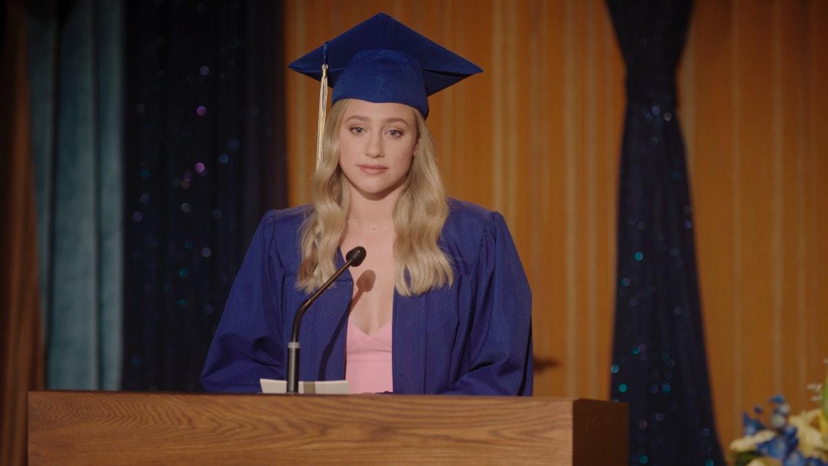 Lili Reinhart as Betty Cooper saying her graduation speech on 'Riverdale'