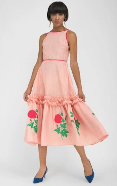 FANM MON DIDIM Peach Linen Red Floral Midi Dress