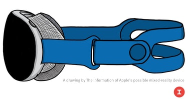 An illustration of Apple's AR/VR mixed reality headset based on late-stage prototype images seen by ...