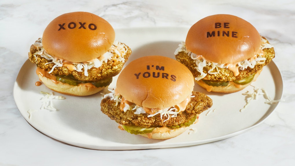 Fuku's Rose Gold Chicken Sandwich for Valentine's Day 2021 is so extra.