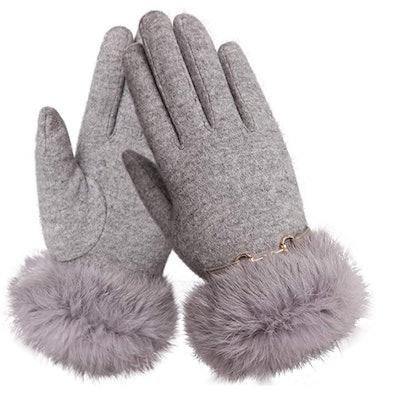 WARMEN Fleece Lined Fur Cuff Gloves