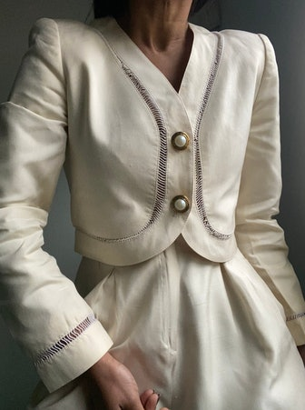 Rare Silk Semi Cropped Pearl Button Blazer