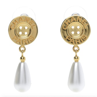 Metal Pearl Paris Button Drop Earrings Gold