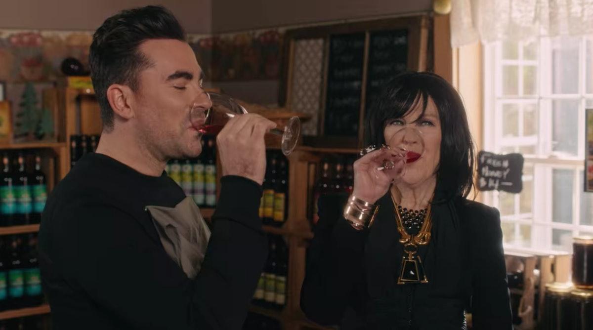 David and Moira Rose drink wine in 'Schitt's Creek.'