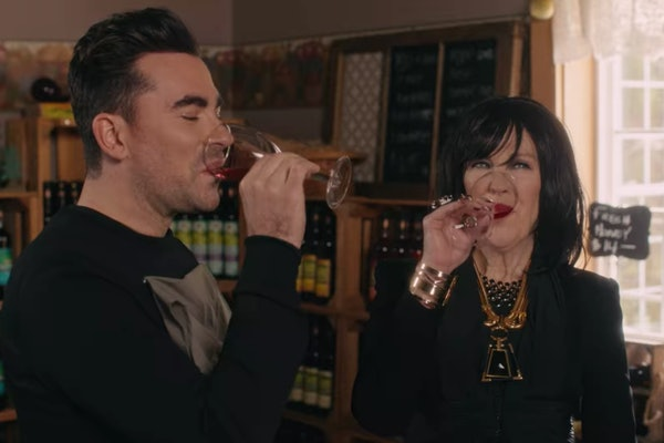 David and Moira Rose drink wine in 'Schitt's Creek.'