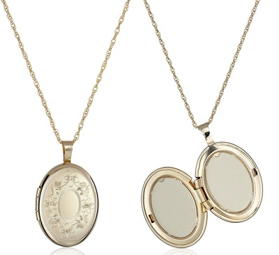 Amazon Collection 14K Gold-Filled Hand-Engraved Locket Necklace