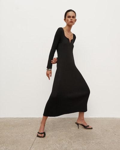 V-Neck Knitted Long Dress