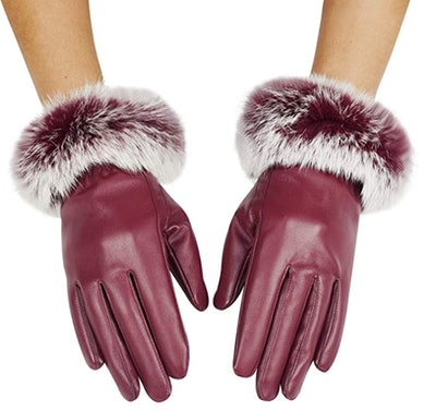 Lovful Faux Leather Fur Cuff Gloves