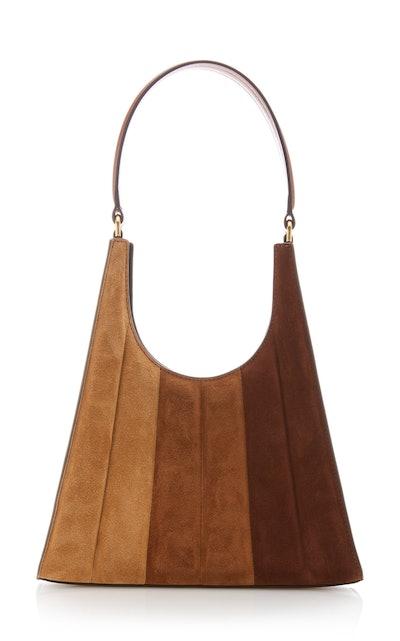 Staud Rey Striped Suede Shoulder Bag