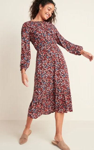 Floral-Print Waist-Defined Midi Dress for Women