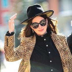 Actress Anne Hathaway walks on Main Street on January 27, 2020 in Park City, Utah.