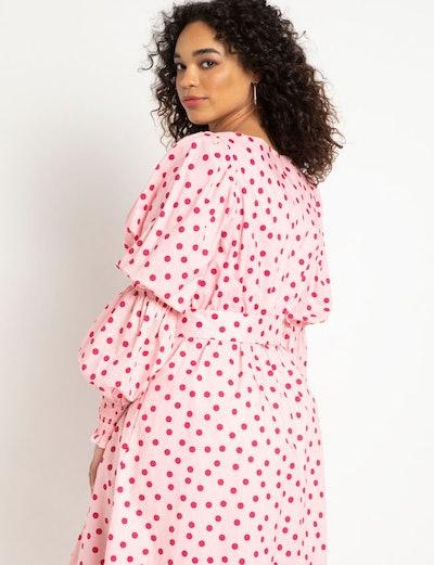 Printed Sweetheart Midi Dress