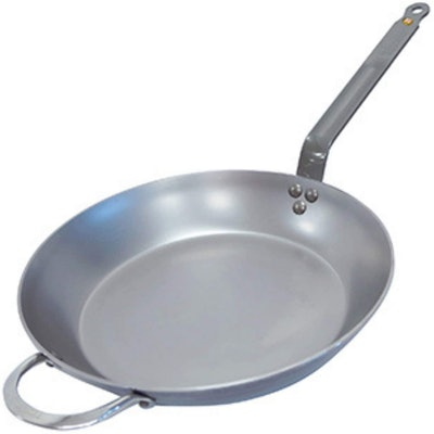 De Buyer MINERAL B 12.6-Inch Round Carbon Steel Fry Pan