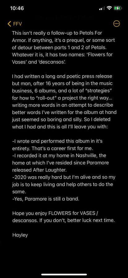 A screenshot of Hayley Williams' Instagram story, which details the arrival of her upcoming second solo album, 'Flowers For Vases'/'descansos'.