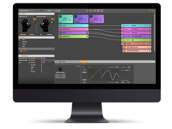 The main landing page for Mi.Mu's software program, powered by Glover, that allows musicians to create sound based on movement. The screen shows different bars and charts for the program.