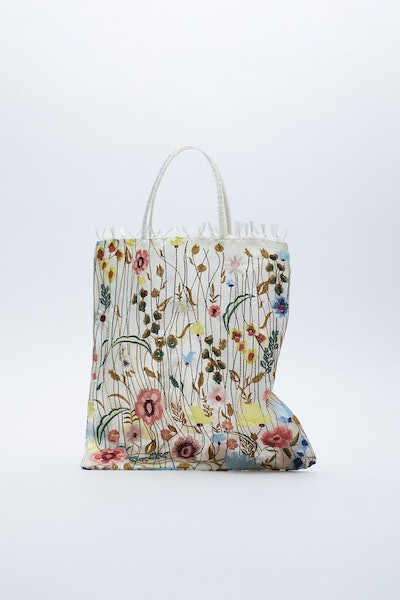 Tulle Floral Embroidery Tote Bag