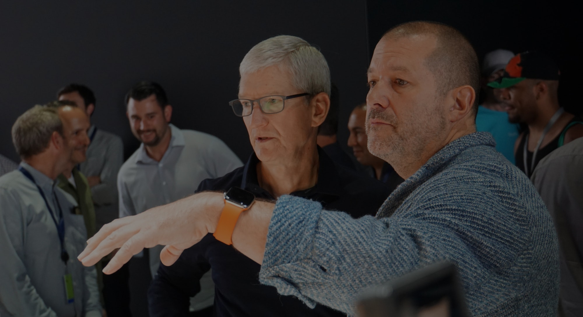 Apple CEO Tim Cook and Jony Ive confused at products.