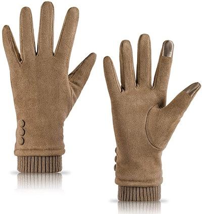 Dsane Fleece Lined Suede Gloves