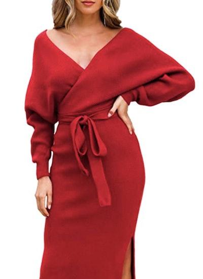 Fixmatti Women's Elegant V Neck Wrap Knit Dress