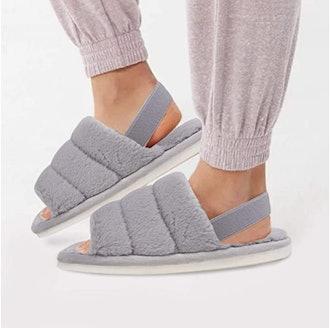 katliu Elastic Strap Fuzzy Slippers